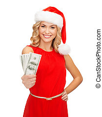 christmas, x-mas, sale, banking concept - smiling woman in santa helper hat with us dollar money