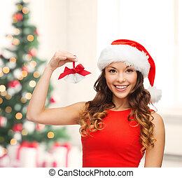 woman in santa helper hat with jingle bells - christmas, x-...