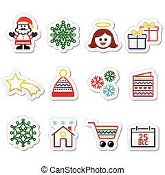 Christmas, Xmas celebrate icons set