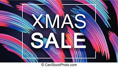 Christmas xmas sale promo poster with abstract colorful...