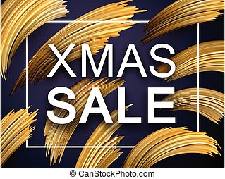 Christmas xmas sale promo poster with abstract golden brush...
