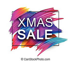 Christmas xmas sale promo poster with colorful brush...