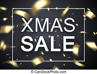 Christmas xmas sale promo poster with golden blurred...