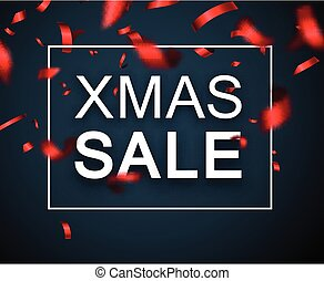 Christmas xmas sale promo poster with red blurred confetti....