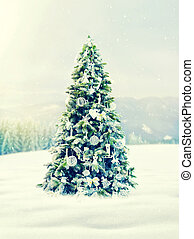 Christmas, xmas tree with decoration, new year