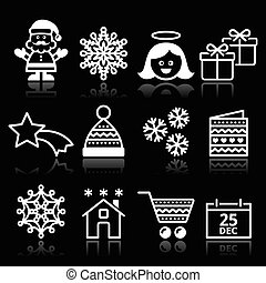 Christmas, Xmas white icons
