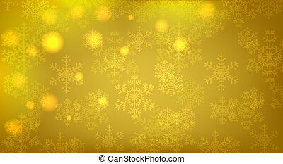 glowing snowflakes - Christmas yellow background with...