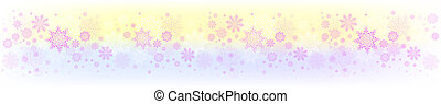 Christmas yellow purple composition with a set of graceful snowflakes.