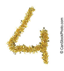 Christmas yellow tinsel with stars as number 4.