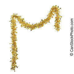 Christmas yellow tinsel with stars. Isolated on a white...