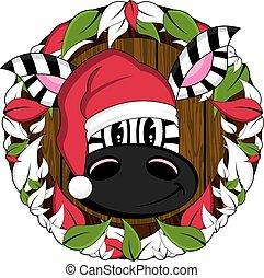 Christmas Zebra on Wreath