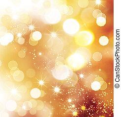 christmasferie, gyllene, abstrakt, bakgrund