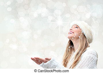 christmasferie, kvinna, med, snö