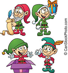 Christmasl elves - Cartoon Christmas elves. Vector clip art ...