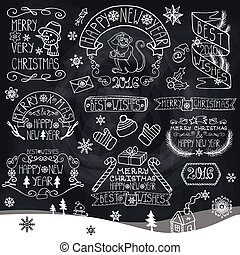 Christmas,New Year 2016 decorations,labels.Chalkboard