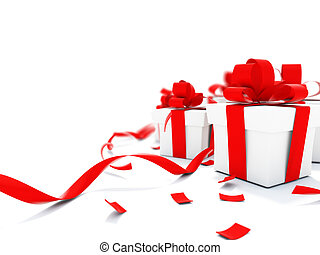 Christmass presents with red ribbons isolated on white
