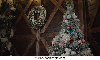 christmass, toys., drzewo., rok, nowy, dekorowanie, illumination., szczęśliwy