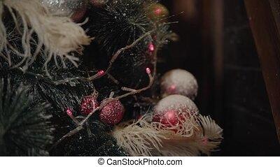 christmass, toys., drzewo., rok, nowy, dekorowanie, szczęśliwy, illumination., closeup.