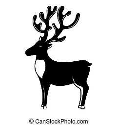 Christmassy Reindeer with horns silhouette. Deer vector...