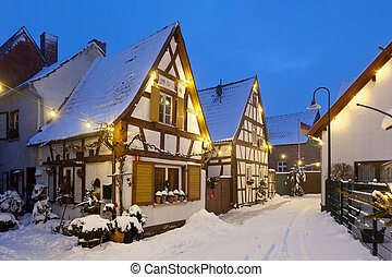 Christmassy Street At Night, Germany - An old village street...