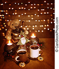 Christmastime decoration, beautiful festive still life on...