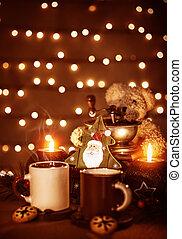 Christmastime dessert - Festive still life on the table, ...