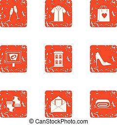 Christmastime icons set, grunge style