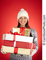 Christmastime - Portrait of lovely girl in winterwear ...