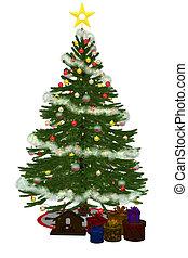 christmastree, met, praesent