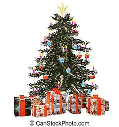 christmastree, mit, praesent
