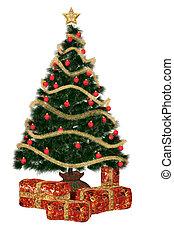 christmastree, mit, pr?sent
