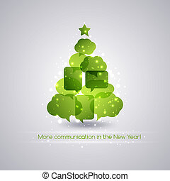 Christmastree with speech bubbles  background