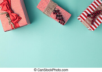 christms gift boxes with ribbons