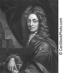 Christopher Wren (1632-1723) on engraving from the 1800s. One of the best known English architects who rebuilt 55 churches in London after the great fire in 1666, including his masterpiece St Paul's Cathedral. Engraved by W. Holl and published in London by Charles Knight, Pall Mall East.