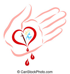 Christ's hand with a heart-shaped wound, the way to heaven