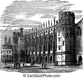 Christ's Hospital in England vintage engraving