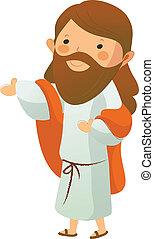 christus, aanzicht, bovenkant, jesus
