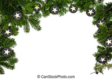 chritmas tree branch on the white background