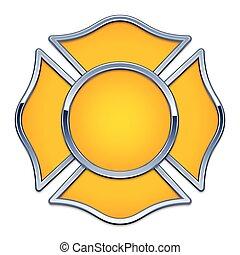 chrom, 空白, 修剪, 援救, 标识语, 火, 矢量, 基于, 黄色