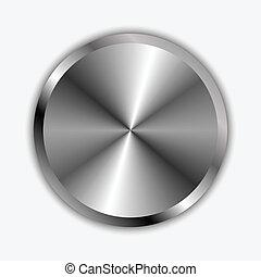 chrom, knopf, vektor, abbildung