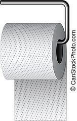 chrom, toaleta, wektor, posiadacz, papier