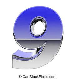 chrom, zählen 9, mit, farbe, steigung, reflexionen,...