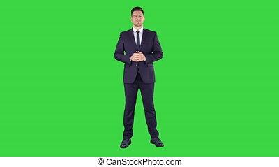 chroma, écran, vert, key., écoute, homme affaires
