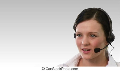Chroma Key footage of a woman on a helpdesk