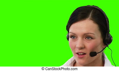 Chroma Key footage of a woman on a helpdesk