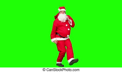 Santa Claus dancing in costume - Chroma-key footage of Santa...