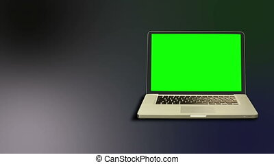 Chroma key on a laptop - Animation with chroma key on a...