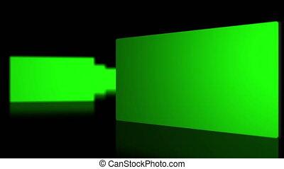 Chroma key screen against black bac - Animation of chroma...