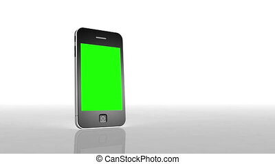 Animation of a chroma key screen of a smartphone against white background