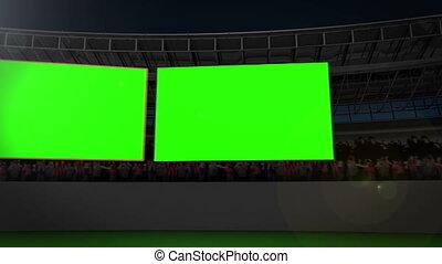 Chroma key screens on a stadium